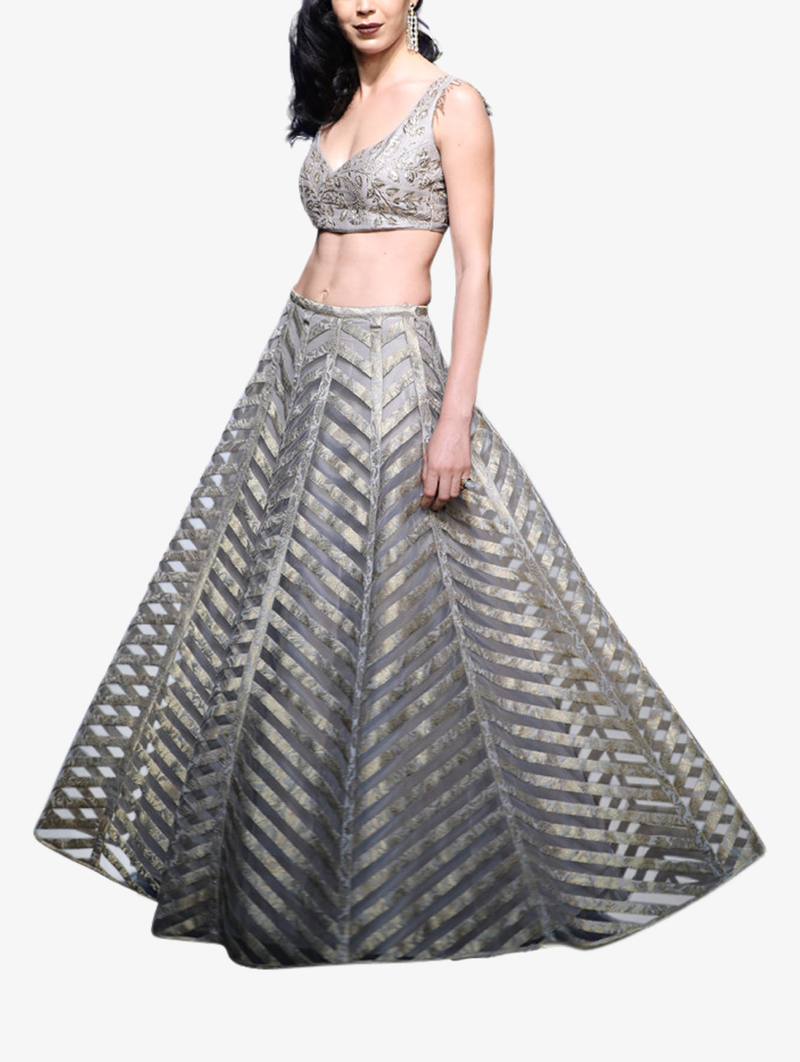 Grey silk choli and brocade striped lehenga set