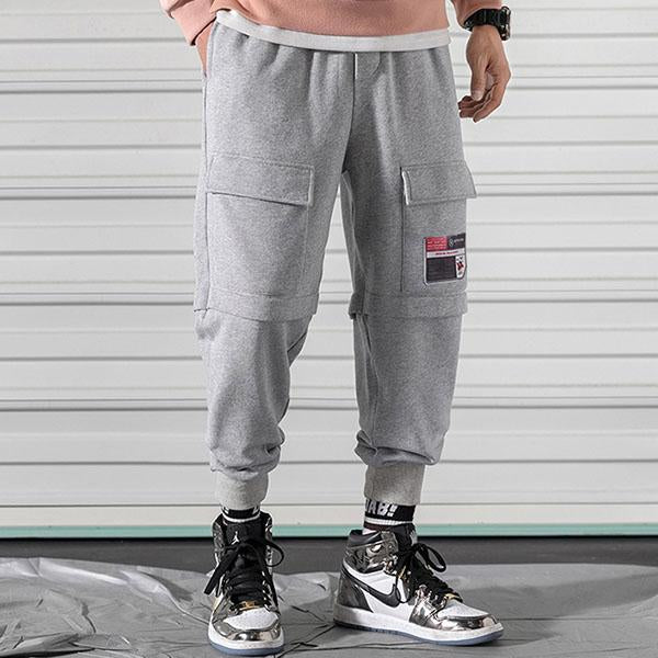 Multi-pocket Elastic Waist Ankle Banded Men's Pants