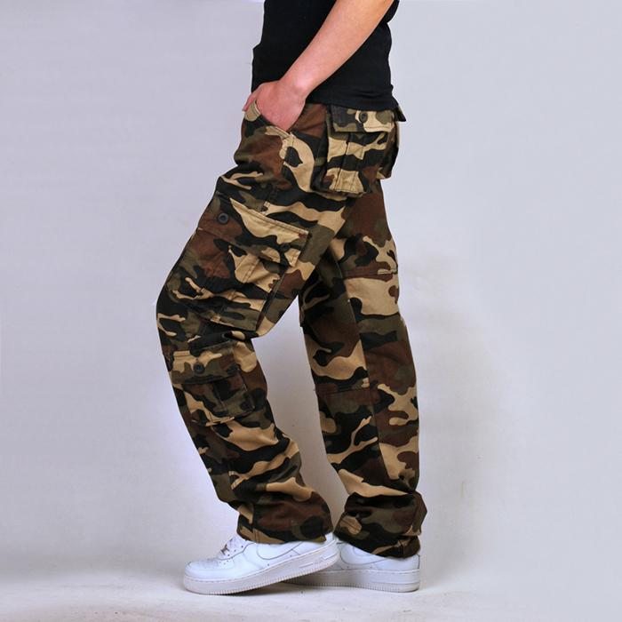 Plus Size Loose Multi-Pocket Camo  Men's Pants