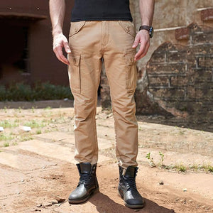 Washed Multi-Pocket Straight Military Tactical Men's Pants