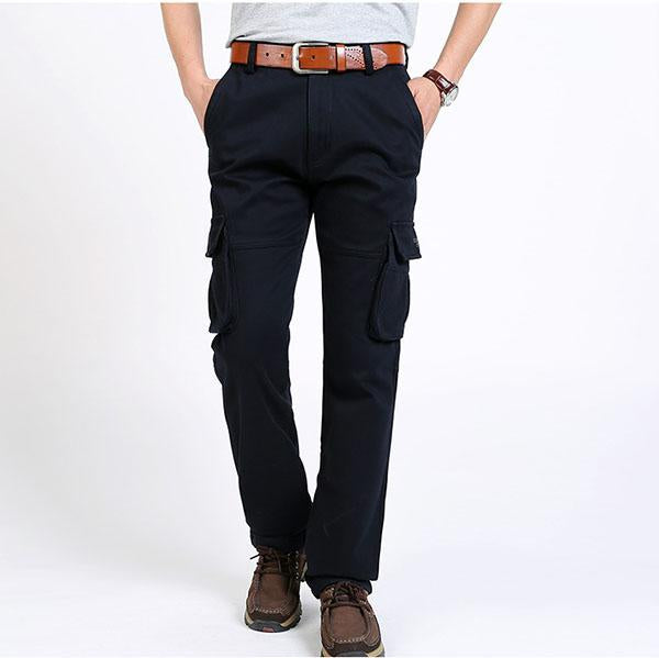 Multi-pocket Thicken Solid Color Straight Men's Pants