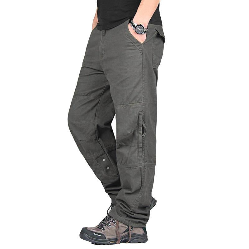 Casual Cotton Overalls Multi Pockets Men Pants