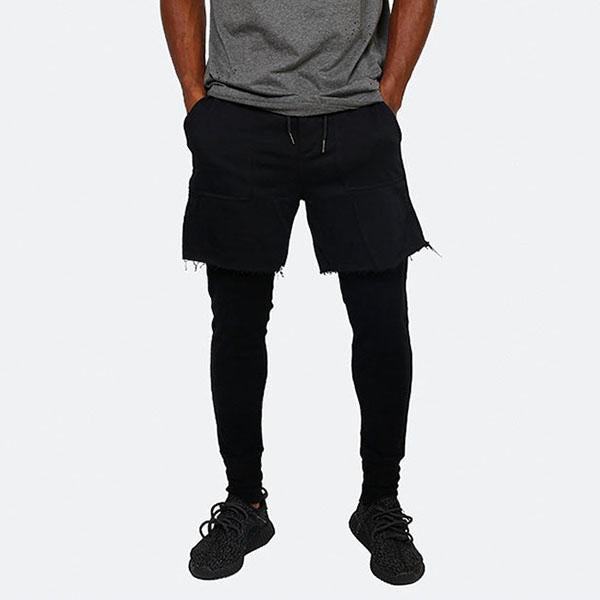 Hip-hop Elastic Waist Layered Stretch 2 in 1  Men's Pants