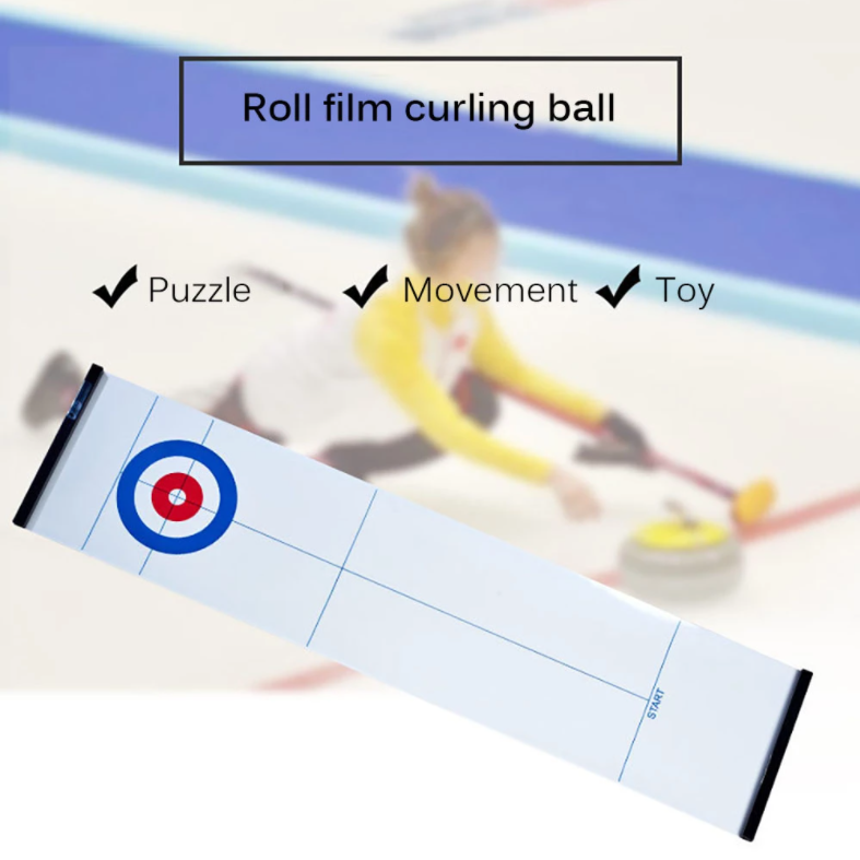 Tabletop Curling Game, Family Games for Kids and Adults with 10 Shuffleboard Pucks, Curling Board Game for Home& School &Travel, Gift for Child