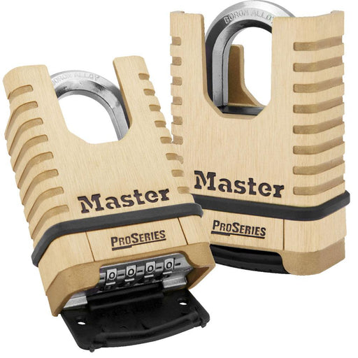 Master Lock 1177 ProSeries® Shrouded Brass Resettable Combination Padlock 2-1/4in (57mm) Wide-Keyed-HodgeProducts.com
