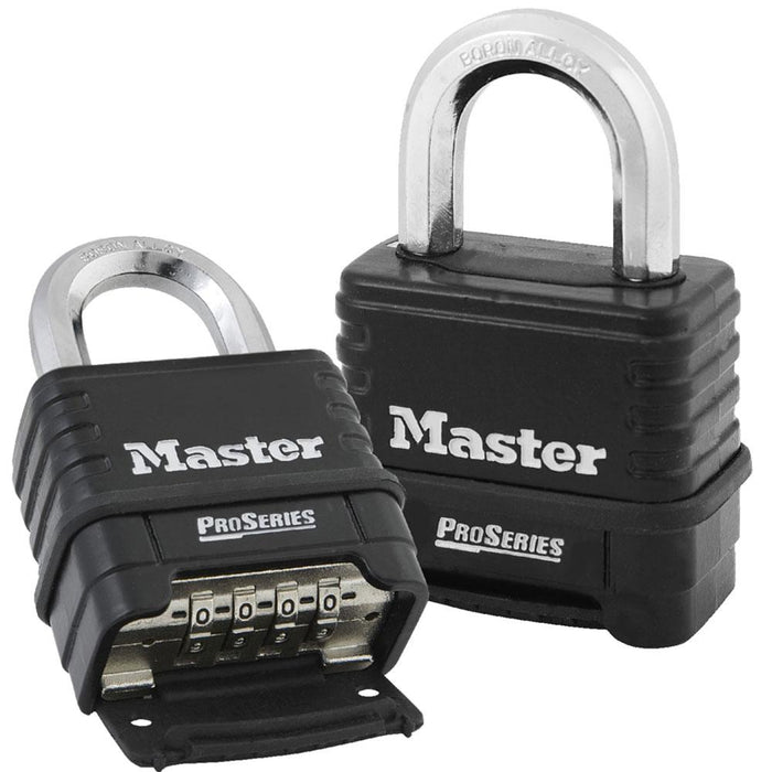 Master Lock 1178 ProSeries® Zinc Die-Cast Resettable Combination Padlock, Black 2-1/4in (57mm) Wide