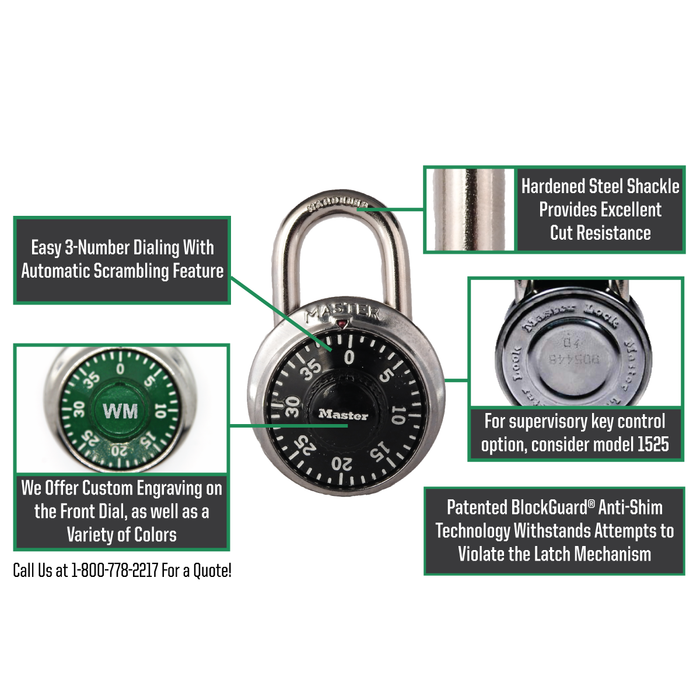 Master Lock 1502 General Security Combination Padlock with Colored Dial 1-7/8in (48mm) Wide-1502-HodgeProducts.com