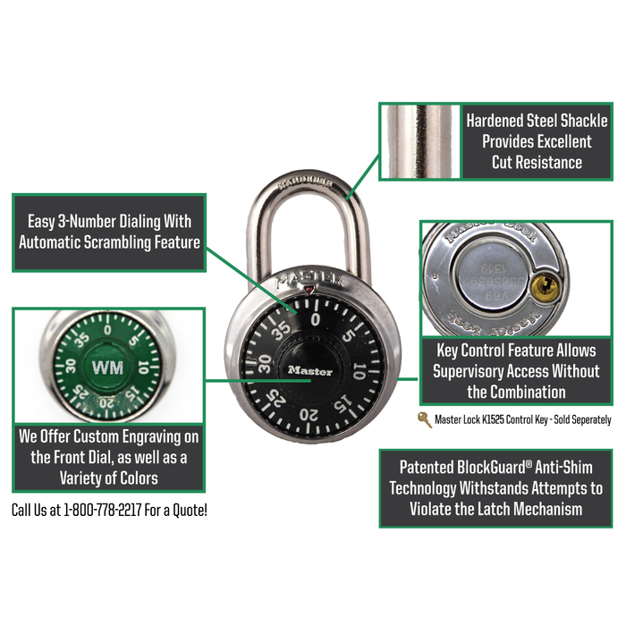 Master Lock 1525 General Security Combination Padlock with Key Control Feature 1-7/8in (48mm) Wide