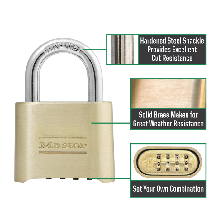 Master Lock 175D 2 in (51mm) Wide Resettable Combination Brass Padlock with 2-1/4in (57mm) Shackle