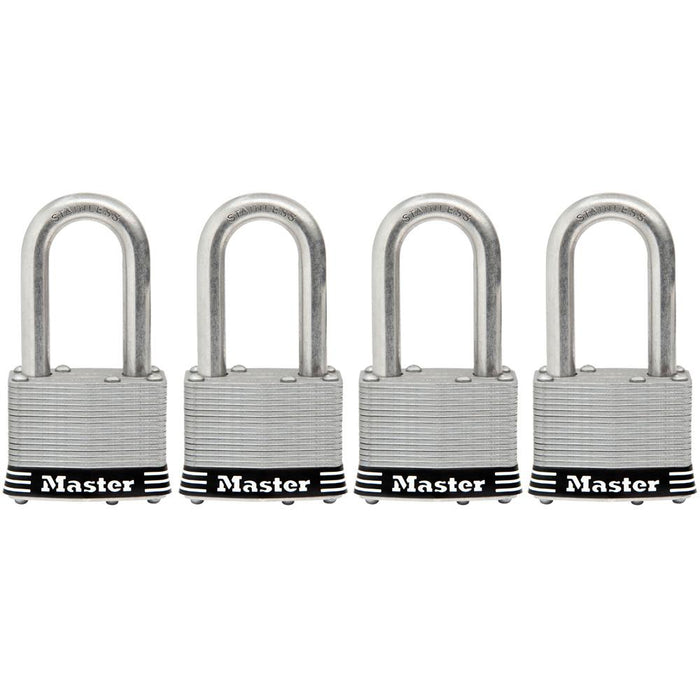Master Lock 1SSQ 1-3/4in (44mm) Wide Laminated Stainless Steel Padlock with 1-1/2in (38mm) Shackle; 4 pack