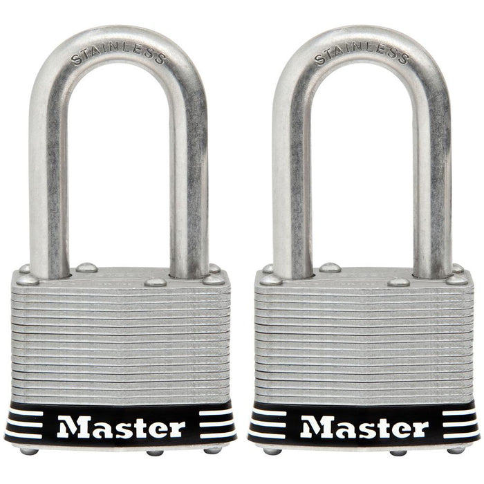Master Lock 1SST 1-3/4in (44mm) Wide Laminated Stainless Steel Padlock with 1-1/2in (38mm) Shackle; 2 pack