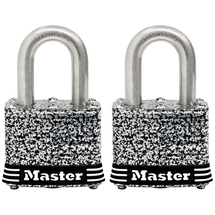 Master Lock 3SST Laminated Stainless Steel Padlock; 2 Pack 1-9/16in (40mm) Wide-Keyed-HodgeProducts.com