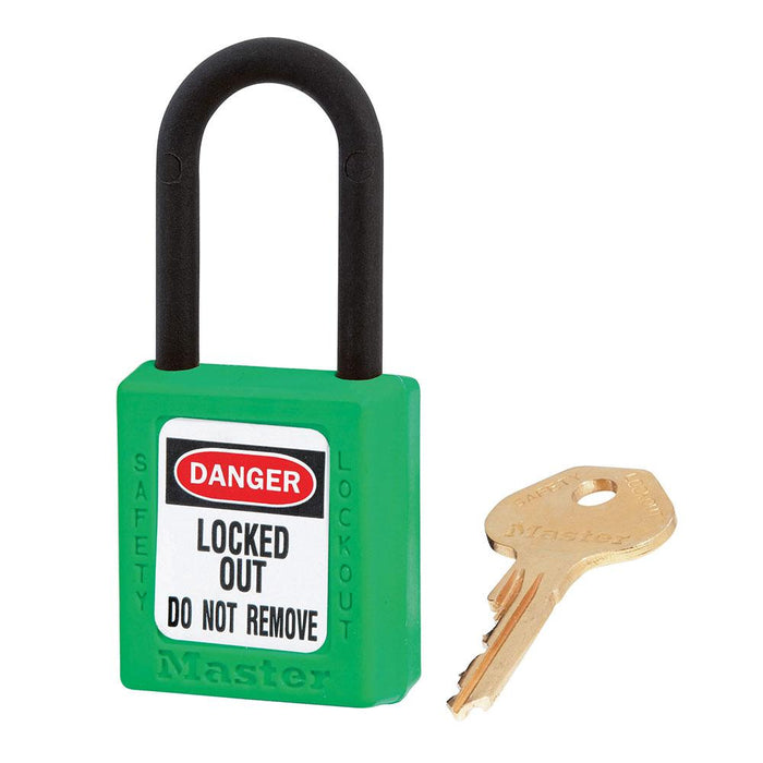 Master Lock 406 Dielectric Zenex™ Thermoplastic Safety Padlock, 1-1/2in (38mm) Wide with 1-1/2in (38mm) Tall Nylon Shackle-Keyed-HodgeProducts.com