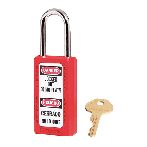 Master Lock 411 Zenex™ Thermoplastic Safety Padlock, 1-1/2in (38mm) Wide with 1-1/2in (38mm) Tall Shackle-Keyed-HodgeProducts.com