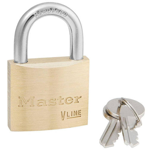 Master Lock 4140 V-Line Brass Padlock 1-1/2in (38mm) Wide-Keyed-HodgeProducts.com