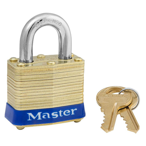 Master Lock 4 Laminated Brass Padlock 1-9/16in (40mm) Wide-Keyed-HodgeProducts.com