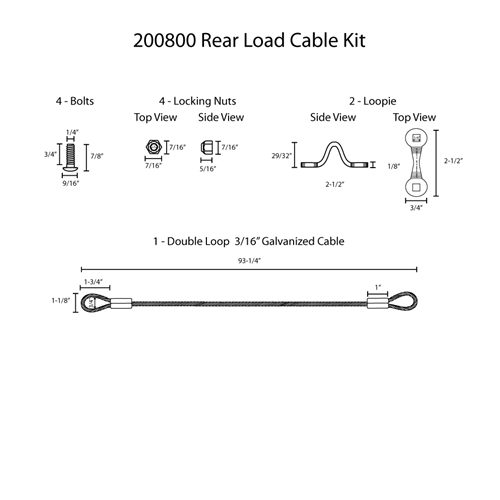 Hodge Products 200800 Rear Load Cable Kit