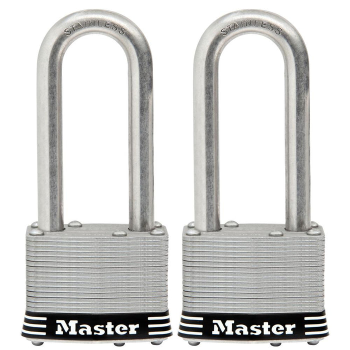 Master Lock 5SST 2in (51mm) Wide Laminated Stainless Steel Padlock with 2-1/2in (64mm) Shackle; 2 Pack