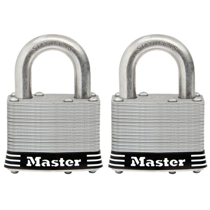 Master Lock 5SST Laminated Stainless Steel Padlock; 2 Pack 2in (51mm) Wide