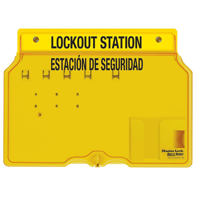 Master Lock 1482BES 4-Lock Padlock Station, English/Spanish, Unfilled-Keyed-HodgeProducts.com