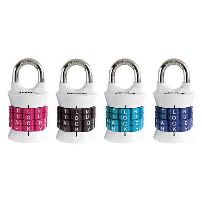 Master Lock 1535DWD Set Your Own WORD Combination Padlock; Assorted Colors 1-1/2in (38mm) Wide