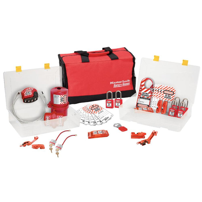 Master Lock 1458E410 Group Safety Lockout Kit, Electrical Focus with Zenex™ Thermoplastic Padlocks-Keyed-HodgeProducts.com