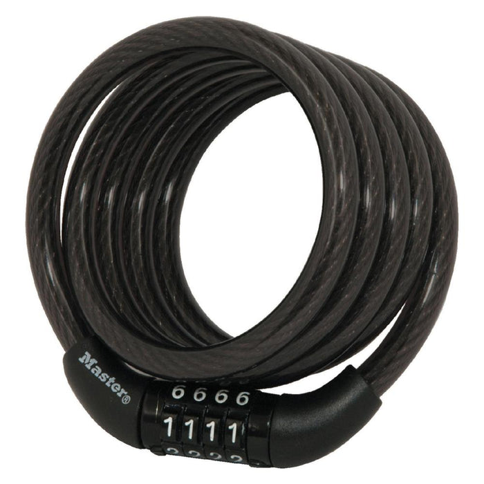 Master Lock 8143D 4ft (1.2m) Long x Diameter Preset Combination Cable Lock 5/16in (8mm) Wide-Combination-HodgeProducts.com