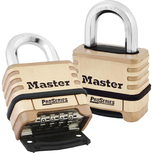 Master Lock 1175D ProSeries® Brass Resettable Combination Padlock 2-1/4in (57mm) Wide-Combination-HodgeProducts.com