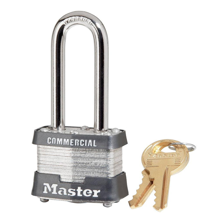 Master Lock 3DLHCOM 1-9/16in (40mm) Wide Laminated Steel Padlock with 2in (51mm) Shackle-Keyed-HodgeProducts.com