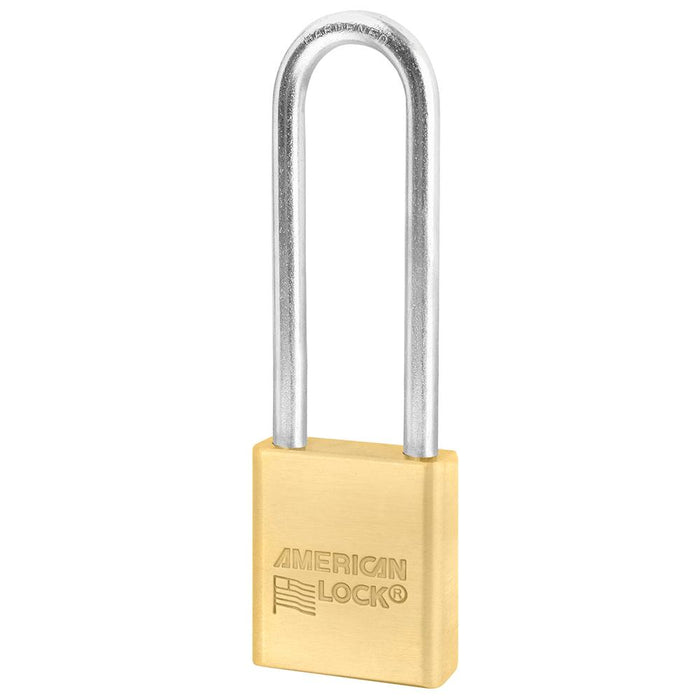 American Lock ASL42N 1-1/2in (38mm) Solid Brass BumpStop® Non-Rekeyable Government Padlock with 3in (76mm) Shackle-Keyed-HodgeProducts.com