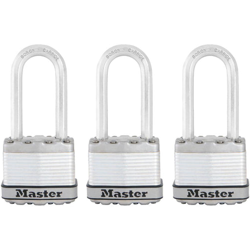 Master Lock M1XTRI 1-3/4in (44mm) Wide Magnum® Laminated Steel Padlock ; 3 Pack-HodgeProducts.com