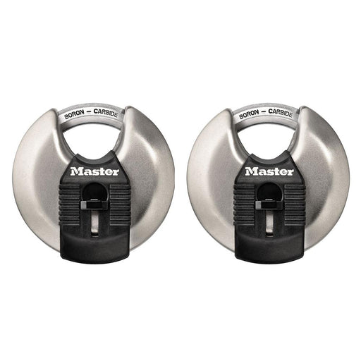 Master Lock M40XT 2-3/4in (70mm) Wide Magnum® Stainless Steel Discus Padlock with Shrouded Shackle; 2 Pack-HodgeProducts.com