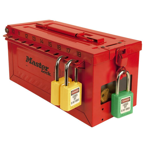 Master Lock S600 Portable group lockout box with key window-HodgeProducts.com