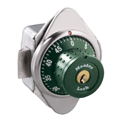 Master Lock 1652MD Built-In Combination Lock with Green Metal Dial Single Point Latch Lockers - Hinged on Right