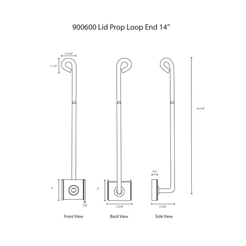 "Hodge Products 900600 14"" Lid Prop with Looped End-HodgeProducts.com"