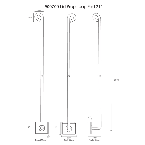 "Hodge Products 900700 21"" Lid Prop with Looped End-HodgeProducts.com"