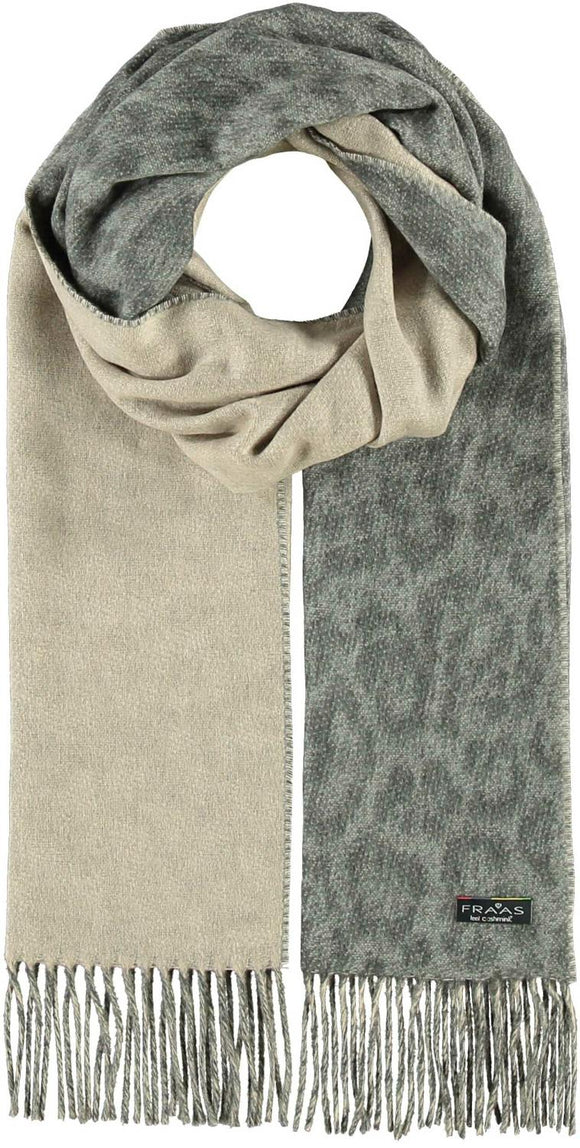 2-Tone Leopard Scarf Light Gray