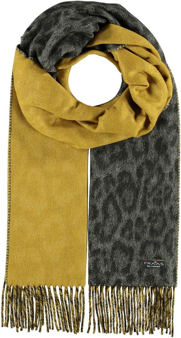 2-Tone Leopard Scarf Mid Gray