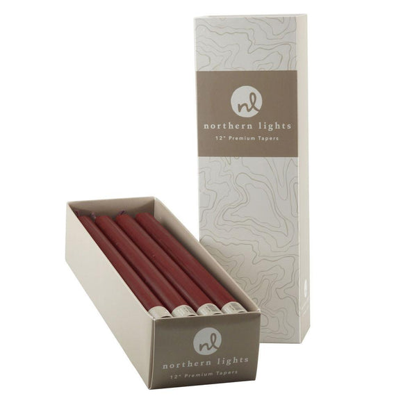 12 Inch Taper Candles Box of 12- Bordeaux