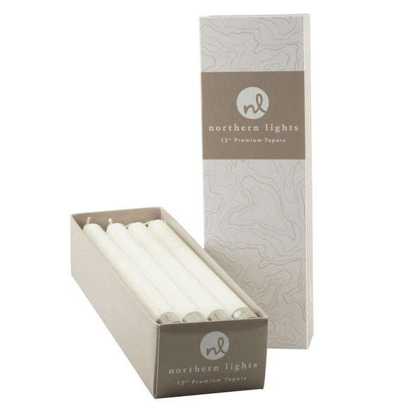 12 Inch Taper Candles Box of 12- White