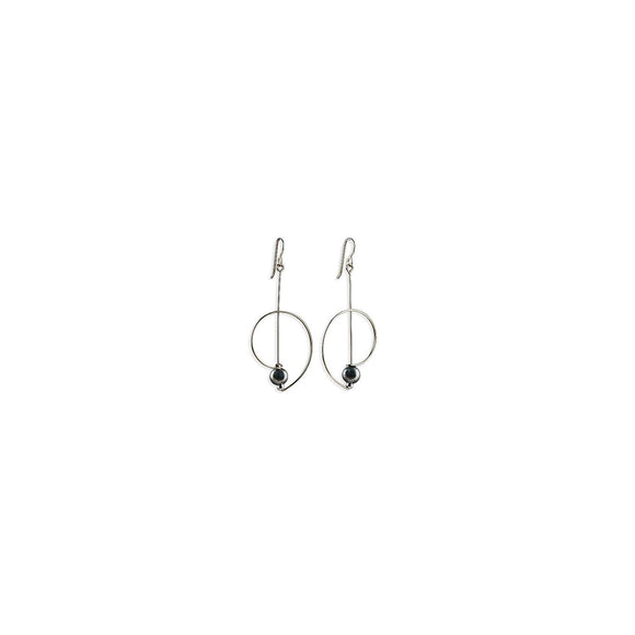 Airy Statement Earring Silver with Hematite Bead