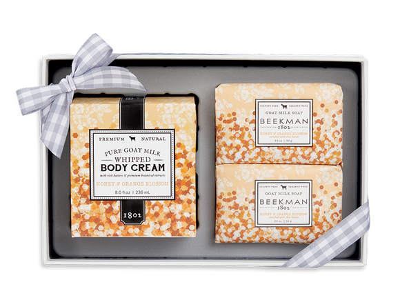 Beekman 1802  Honey and Orange Blossom Soap and Whipped Body Cream Trio