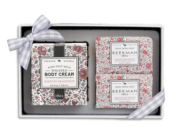 Beekman 1802 Honeyed Grapefruit Soap and Whipped Body Cream Trio