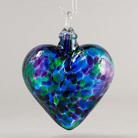 Blue Mosaic Chip Heart Ornament