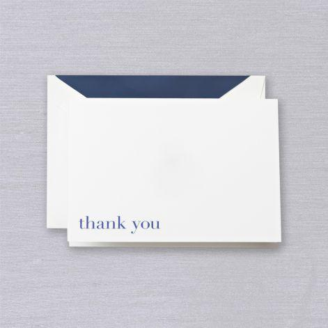 Bodoni Navy Thank You Pearl White Boxed Notes