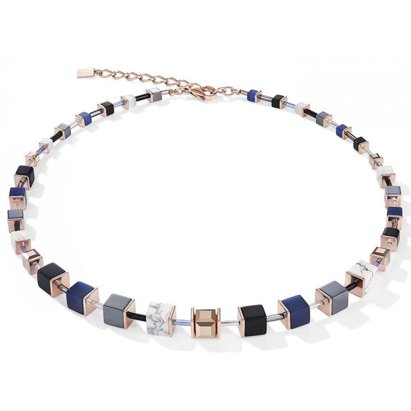 Coeur de Lion Blue Rose Gold Geocube Necklace