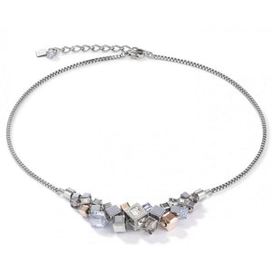 Coeur de Lion Silver Rose Gold Geocube Cluster Necklace