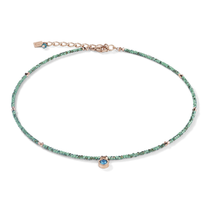 Coeur de Lion Small Crystal Necklace Rose Gold and Sea Green