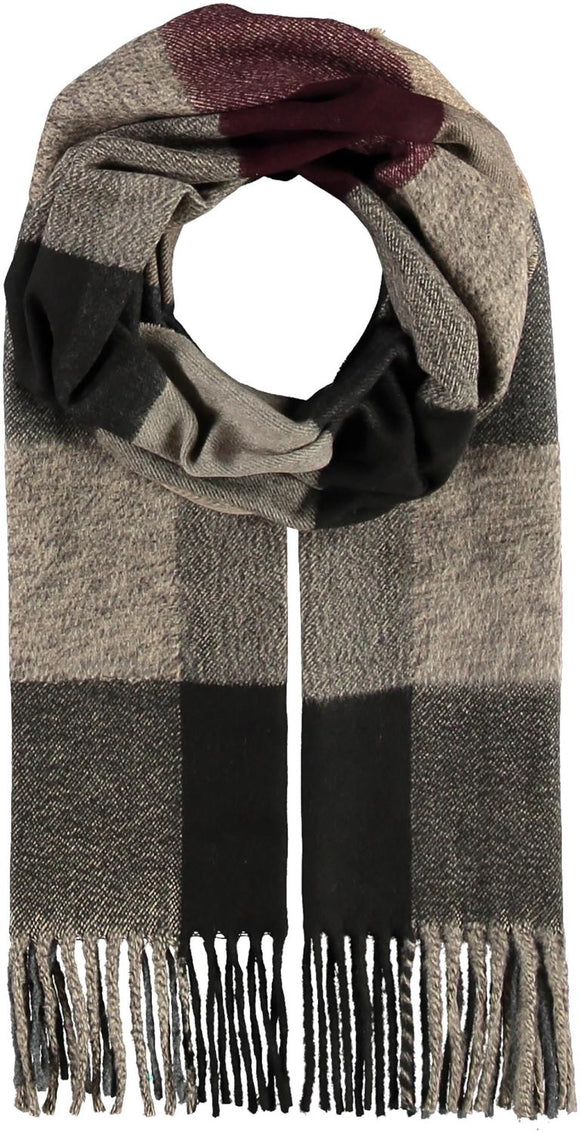 Colorblock Plaid Scarf Black and Burgundy