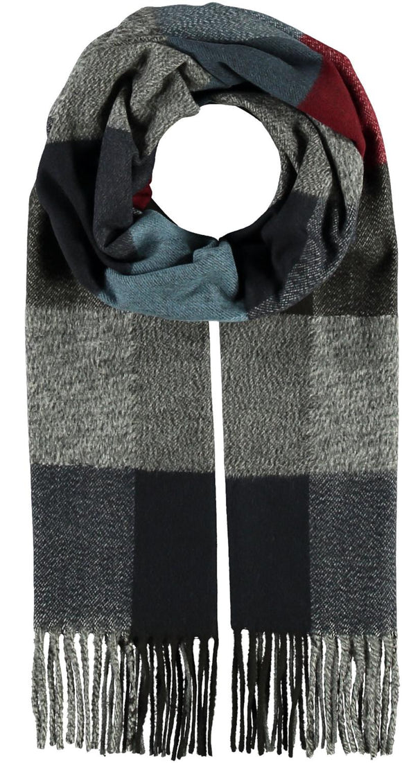 Colorblock Plaid Scarf Navy